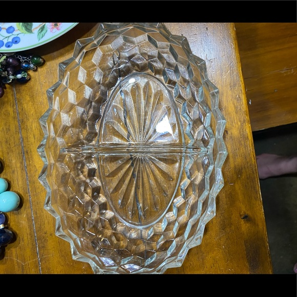 Vintage Fostoria American clear divided dish